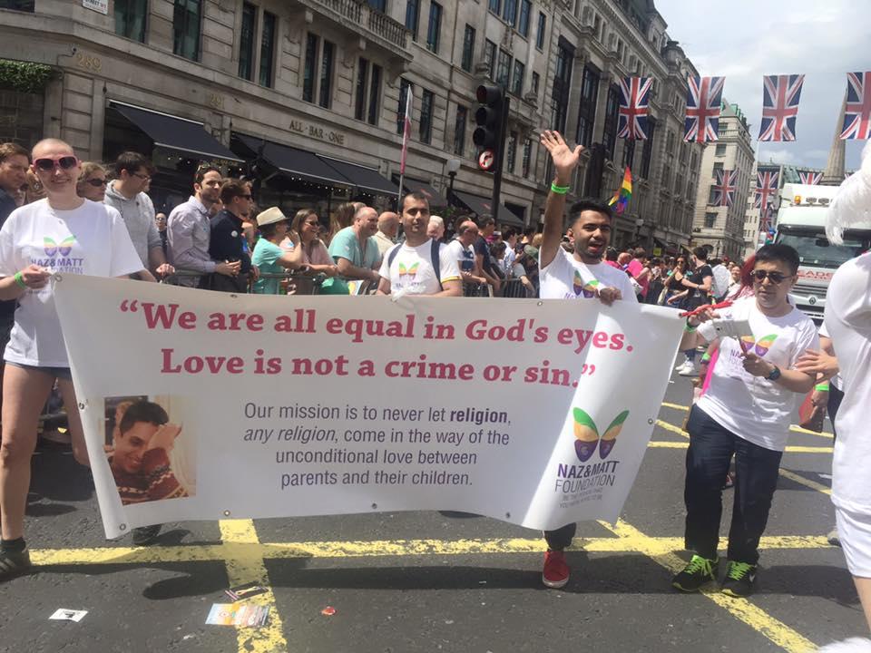Naz & Matt Foundation volunteers marching in London Pride 2016