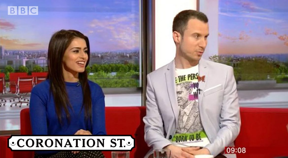 Matt and Bhavna Limbachia on BBC Breakfast talking Corrie and religious homophobia
