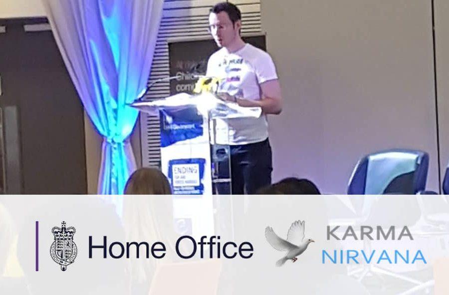 Matt speaking at Home Office Conference for Karma Nirvana
