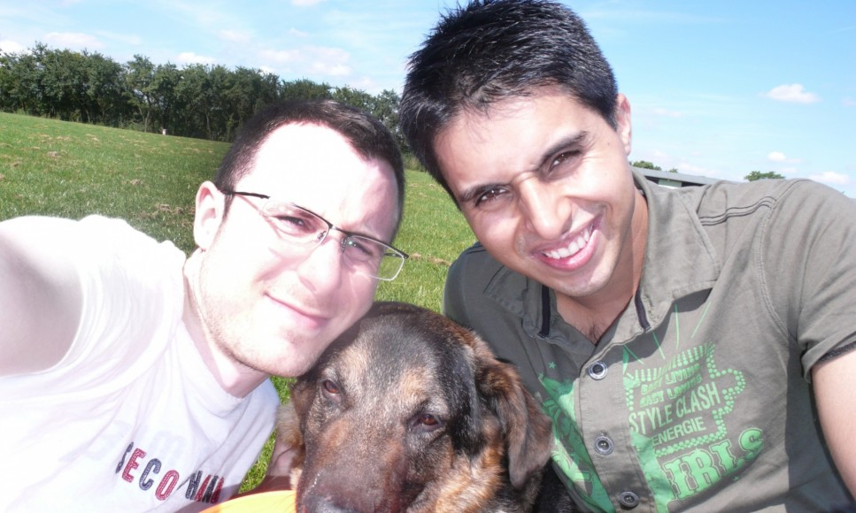 Matt and Naz with their adopted stray dog Charlie in 2007